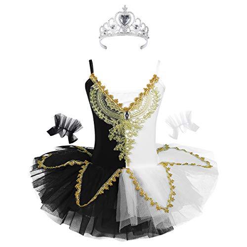 TiaoBug Vestido Niña de Danza Ballet para Fiesta Actuación Disfraz de Cisne Blanco&Negro con Corona Reina Muñequeras Tutú Vestido Princesa Elegante Infántil 2 a 14 Años Blanco&Negro 170cm (12-14 años)