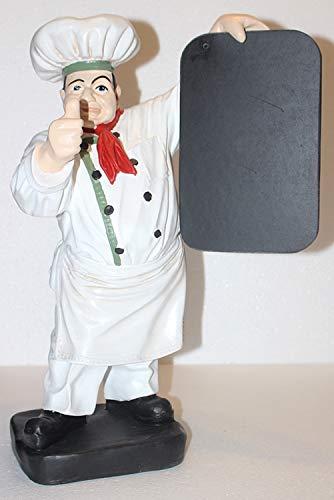 JS GartenDeko e.K. Dekofigur Figur Koch | Weiß mit Tafel zum Auszeichnen | Gastrofigur aus Kunstharz | Deko Figur | Koch Skulptur