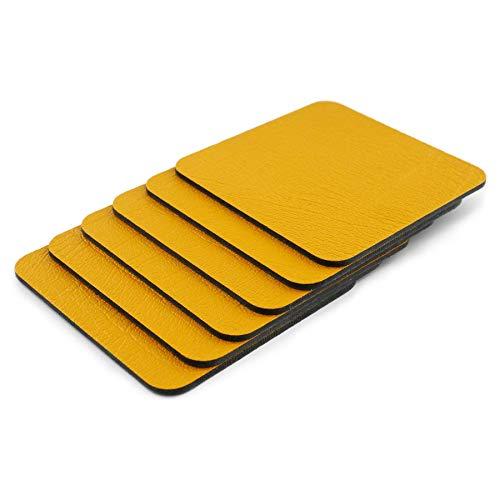 Posavasos de 6 posavasos de color amarillo mostaza (10 cm x 10 cm). Hecho en el Reino Unido de cuero reciclado por Lara-May.