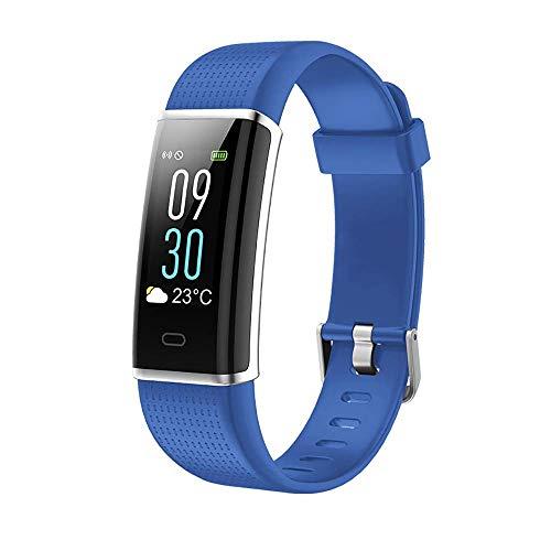 Mygsn Watch Smart Fitness Tracker, Fitness Tracker-Uhr mit ultradünnem Touchscreen und Armband, tragbarer Aktivitäts-Tracker als Schrittzähler-Schlafmonitor Watch (Farbe : Hellblau)