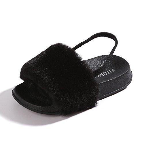 Girls Sandals Toddler, Faux Fur Slides with Elastic Back Strap Flats Shoes for Kids, 7 Toddler, Black