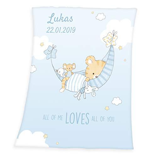 Wolimbo Soft-Peach Babydecke mit Wunsch-Namen und Little Tiger 75x100 cm - personalisierte/individuelle Geschenke für Babys und Kinder zur Geburt, Taufe und Geburtstag