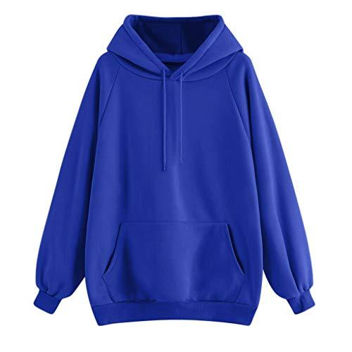 Pullover Damen Hoodie Sweatshirt Einfarbig mit Taschen Langarmshirt Langärmeliges Warm Top Lässige Loose Tunika Bluse Shirt Oberteil Kleidung Kapuzenpullover