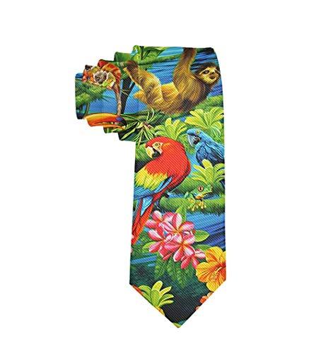 Corbata de moda para hombre Macaw Amazon Rainforest Necktie One Size Neck Tie