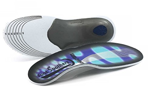 Foot Soothers Premium Orthotic Gel High Arch Support Insoles, Gel Pad, 3D Arch Support, Blue White Grey, UK Mens 7 - 11