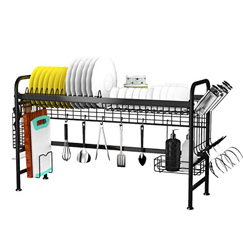 Dish Drying Rack Over The Sink, Dish Rack Drainer for Kitchen Organizer Storage Space Saver Shelf Utensils Holder with 5 Utility Hooks Dish Rack Over Sink(Sink Size ≤ 33.8 inch) Black Patent Pending