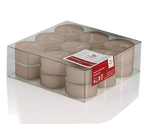 INNA-Glas Lot 5 x Lot de 18 Bougies Chauffe-Plat - Bougie de Table Kenny, Beige, 1,8cm, Ø3,8cm, 4h - Petites Bougies - Bougie décorative