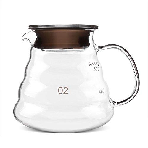 Koffiepot met grote capaciteit, waterkoker, gemaakt van hoogwaardig glas, hittebestendige theepot voor kantoor/huis/bar/restaurant (350 ml / 500 ml)
