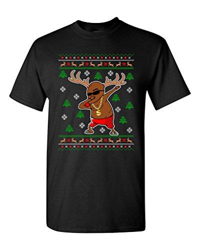 Rudolph Gangsta Sleigh Reindeer Cool Ugly Christmas Funny DT Adult T-Shirt Tee (XXXXX Large, Black)