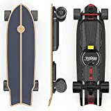 Teamgee H20mini Electric Skateboard with Remote Control Hub Motors 900W Range 18 Miles 24mph Top Speed 4 Speed Adjustment Load up to 286 Lbs 7 Ply Maple Longboard (Black)