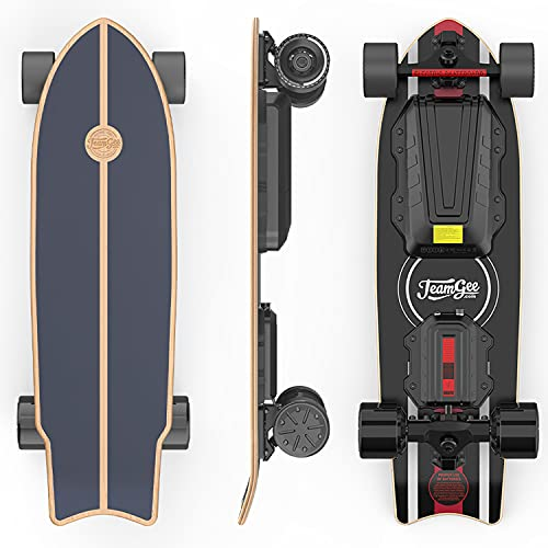 Teamgee H20mini Electric Skateboard with Remote Control Hub Motors 900W Range 18 Miles 24mph Top Speed 4 Speed Adjustment Load up to 286 Lbs 7 Ply Maple Longboard