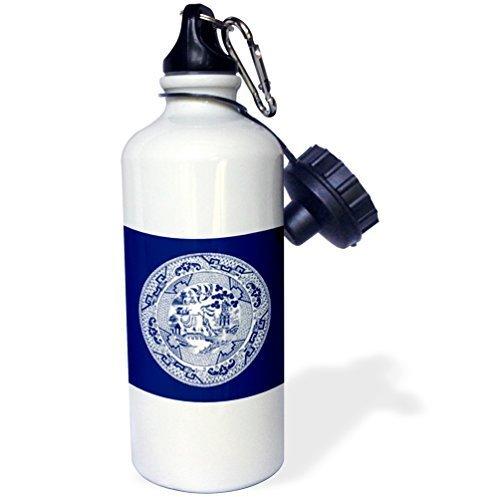 Cukudy sport waterfles geschenk, wilg patroon in Delft blauw en wit roestvrij staal waterfles voor vrouwen mannen 21 oz