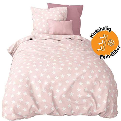 Aminata Kids warme Biber-Bettwäsche-Set Sterne 135x200 cm + 80x80 cm Mädchen aus Baumwolle mit Reißverschluss, unsere Kinder-Bettwäsche mit Stern-Motiv ist warm, weich & kuschelig, rosa, Rose, weiß