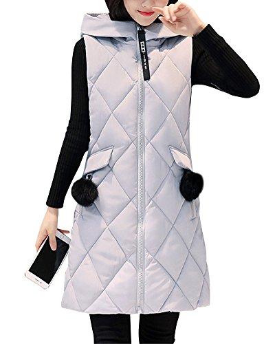Qitun Damen Stepp-Weste Übergangsweste mit Kapuze Padded Warm Plus Size Daunenweste Baumwolle Jacke Grau XL