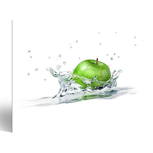 islandburner Bild Bilder auf Leinwand grüner Apfel im Wasser Poster, Leinwandbild, Wandbilder