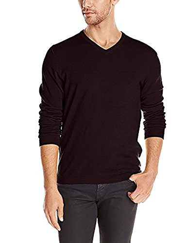 Calvin Klein Mens Extra Fine Merino Wool V-neck Sweater (L, Dark Chestnut)