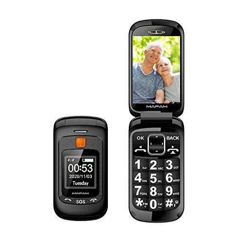 Teléfono Móvil para Personas Mayores Teclas Grandes con Tapa Flip Senior Fácil de Usar Celular para Ancianos con SOS Botones, Pantalla de 2,4+1.44 Pulgadas (Negro)