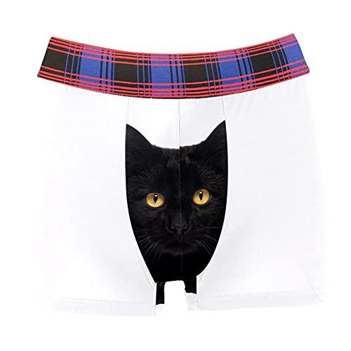 Lorvies Boxer Briefs Black Cat Looking at the Camera Men Underwear Short Leg Polyester Spandex