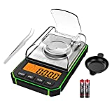 Brifit Digital Pocket Scale, 50g/0.001g Milligram Scale, High <span class='highlight'>Precision</span> <span class='highlight'>Lab</span> Weighing Scale with 50g Calibration Weight, Tweezers, Weighing Pan, 6 Units, Tare Function, Green (Battery Included)