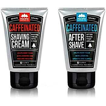 Pacific Shaving Company Caffeinated Shaving Set 2 Pieces  - Caffeinated Shaving Cream, 1 Unit   Caffeinated Aftershave, 1 Unit