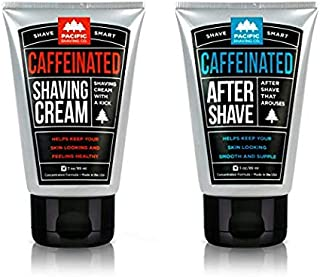 Pacific Shaving Company Caffeinated Shaving Set 2 Pieces - Caffeinated Shaving Cream, 1 Unit | Caffeinated Aftershave, 1 Unit