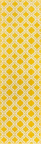 Well Woven Kids StarBright Calipso Modern Geometric Trellis Yellow 2' x 7'3