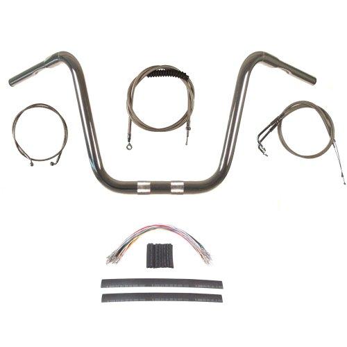 Hill Country Customs 1 1/4' Chrome 16' Ape Hanger Handlebar Kit for 2008-2011 Harley Dyna Fat Bob models