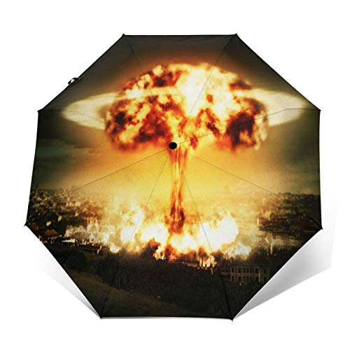 Paraguas Plegable Automático Impermeable Bomba Nuclear de explosión de Guerra, Paraguas De Viaje Compacto a Prueba De Viento, Folding Umbrella, Dosel Reforzado, Mango Ergonómico
