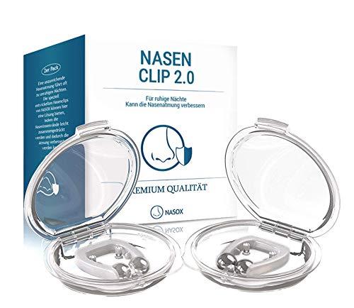 NASOX© Clip nasale - Design migliorato 2020 I Nuovi dilatatori nasali confezione trasporto inclusa I Dispositivo antirussamento I Aiuto contro il russamento per notti tranquille I Set da 2