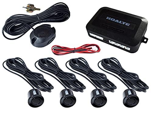 HOALTE Einparkhilfe-Set zum Nachrüsten, 4 Ultraschall-Sensoren fi 22 mm, Reichweite bis zu 2 Meter, vertikale und horizontale Hinderniserkennung, akustische Warnung, für alle Autotypen