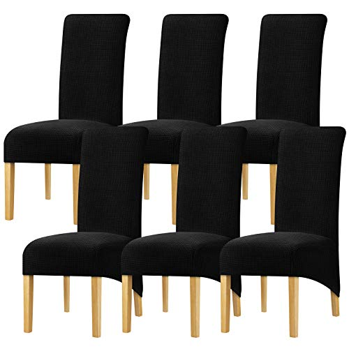 YZFZP Large Size Dining Room Hotel Fleece Fabric Stretch Chair Cover Black 6 Pieces