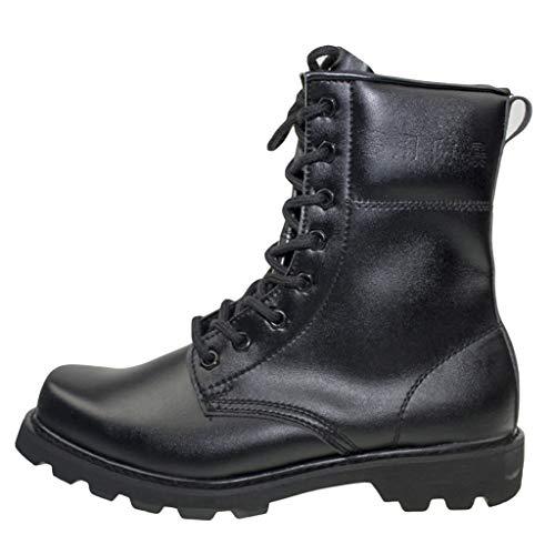 Bottes de combat en plein air militaires pour hommes Chaussures d'entraînement tactiques de l'armée Bottes de travail de sécurité durables Baskets de sécurité Chaussures de travail de police,Black-40