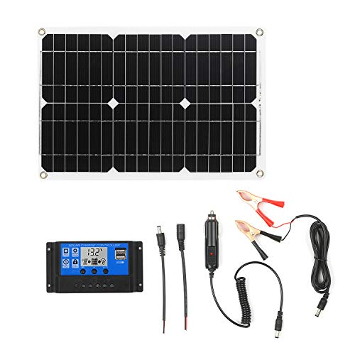 Solar Panel Kit,18 Watt 12 Volt Monocrystalline Off Grid System for Homes RV Boat + 20A 12V/24V LCD PWM Solar Charge Controller + Solar Cables with Connector