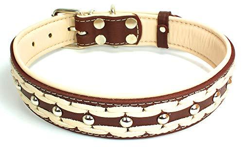 Onbekend sulla echt leer gewatteerde handgemaakte hondenhalsband in modieuze kleuren gevlochten M/L/XL/XXL, XXXL 56cm-66cm, bruin-beige