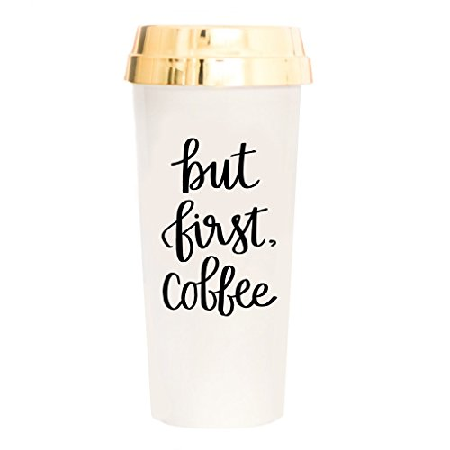 But First Coffee Travel Mug Coffee Lover Gift Plastic Travel Mug with Gold Lid Gift Cute Accessories for Women Commuter Plastic Tumbler Novelty Travel Mug Insulated Coffee Cups with Lids Hot Tea Gifts