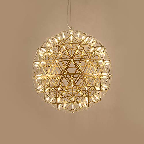 Radio Ball LED hanglamp, retro ronde kroonluchter plafondlamp, 6500K RVS hanglamp kookeiland eetkamer Slaapkamer Bar Cafe,Gold,60cm