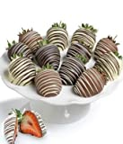 Gift - 12 Pieces - Belgian Chocolate Dipped Strawberries (An Assortment of Milk, White and Dark...