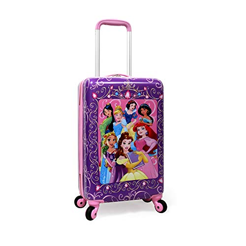 Disney Princess Luggage 20 Inches Hard-Sided Rolling Spinners Carry-On Tween Travel Trolley Suitcase for Kids - Pink