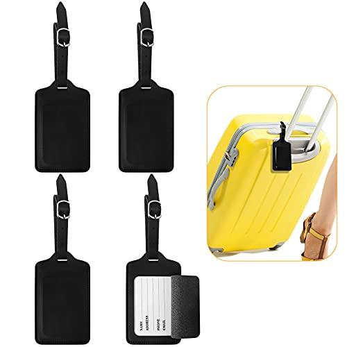Yuehuabao 4 Stück Leder Adressanhänger, Premium Kofferanhänger koffer tag leder Schwarz aus Premium PU-Leder für Koffer Reisen Geschäft