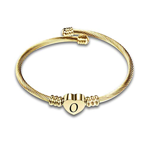 KunBead Jewelry Letter O Initial Mother Daughter Son Heart Love Bangle Cuff Gold Bracelets for Women