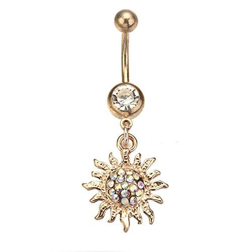 Daesar Damen Bauchnabelpiercing mit Anhänger Sonnenblume Zirkonia Bauchnabel Ring aus Edelstahl Bauch Ring Gold
