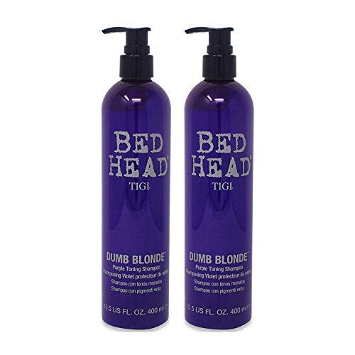 TIGI Bed Head Dumb Blonde Purple Toning Shampoo, 13.5 Ounce (2 Pack)