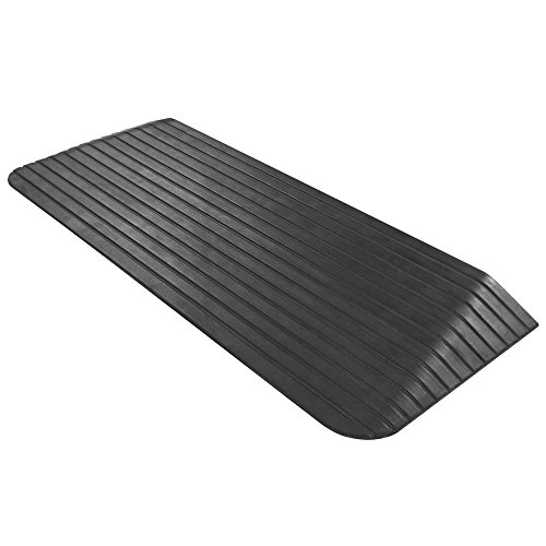 HomeCare Innovation | Rampe de seuil dacces en caoutchouc handicape de trottoir | Rampes de passe passage de seuil porte d acces pour fauteuil roulant - Noir (6,5 x 42 x 110 cm)