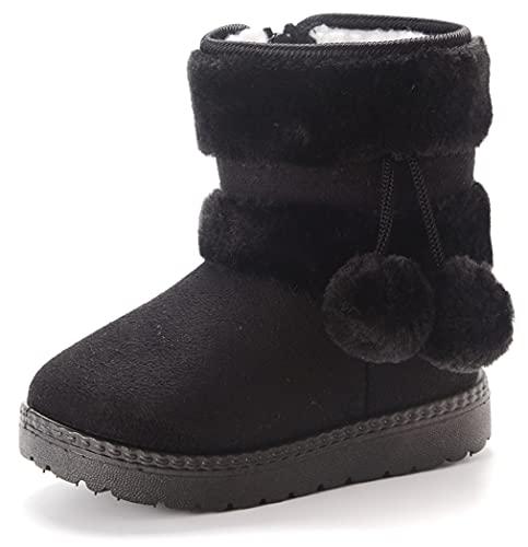 Vorgelen Botas de Nieve para Niños Invierno Felpa Botines Calentar Botas de Nieve Bebés Antideslizantes Zapatos Botas (152 Negro - 23 EU = Etiqueta 24)