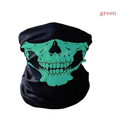 SPI winddicht zonnescherm skelet outdoor motorfiets multifunctionele halsverwarmer Ghost Half Face Mask sjaals, groen