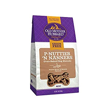 Old Mother Hubbard P-Nuttier 'N Nanners Grain Free Oven Baked Mini Dog Treats Banana & Peanut Butter 16-Ounce Bag