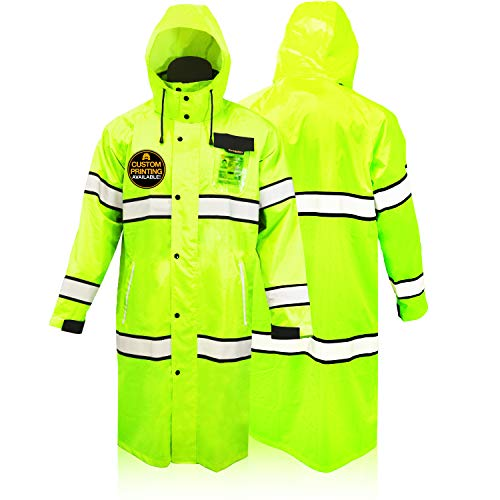 KwikSafety (Charlotte, NC) TORRENT Class 3 Safety Trench Coat | High Visibility Waterproof Windproof Safety Rain Jacket | Hi Vis Reflective ANSI Work Wear | Rain Gear Hideaway Hood Carry Bag | XL