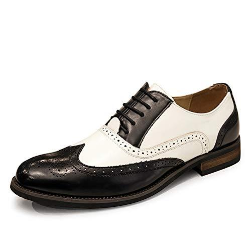 QINAG Zapatos de los Hombres de Negocios Formal del Vestido de Oxford for Lace Up Piel de Microfibra Punto del Dedo del pie del Extremo del ala Talla ceroso Cordones Dos Tonos Brogue