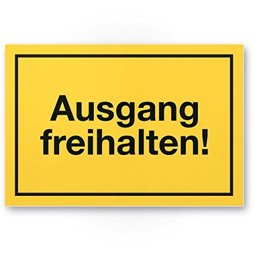 Ausgang freihalten Kunststoff Schild (gelb, 30 x 20cm), Hinweisschild Tür von Eingängen / Ausgängen, Warnhinweis Parken verboten, abstellen verboten, Eingang freihalten