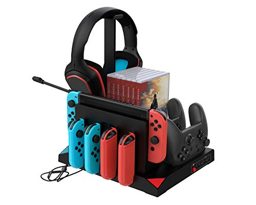 ElecGear Nintendo Switch Estación de Carga con Ventilador de Refrigeración del Dock, Controlador Cargador Joy-Con y Pro Mando, Soporte de Almacenamiento para Auriculares, Tarjeta de Juego, Poké Ball